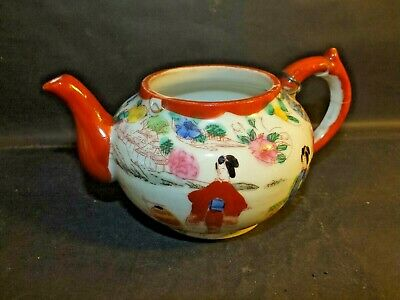 Attractive Early 19th C Japanese Satsuma Hand Painted Tea Pot Circa 1820 (af)
