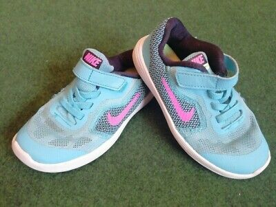 Nike Revolution 3 Girls Trainers - Turquoise & Pink - Kids UK Size 8.5