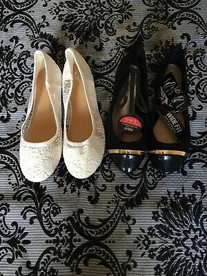 Two Pairs Of Girls Shoes White Size 4 Black Size 3 Nwot