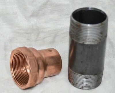 "1.25"" Copper Sweat Fitting Adapter Female Thread 1-1/4"" X 1-1/2"" FIP & 4"" NIPPLE"