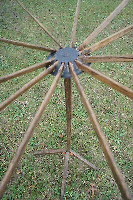 """Antique Primitive Wood Clothes Herbs Dryer Collapsible Handmade 46"""" Tall"""