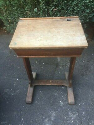 Vintage SCHOOL Sliding DESK.  Edwardian (or Victorian) OAK, partially old PINE?
