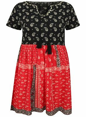 Brand New Ladies Ex River Island Black Red Paisley Gypsy Style Floaty Dress