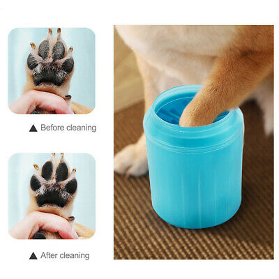 HOT UK Portable Dog Paw Cleaning Brush Cup Outdoor Mud Pet Feet Cleaner Washing