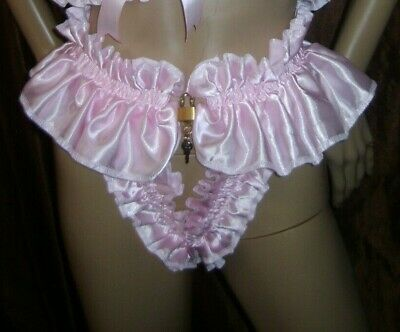 Prissy Sissy Maid Adult Baby CD/TV Lockable Slave Pouchless Thong & Padlock