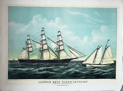 "Schiffe-Ships- ""Clipper ship ""Ocean Express"", Lithographie New York, 1856"