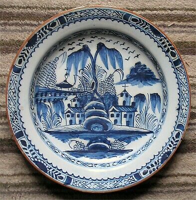 18th Century delft Chinoiserie tin glazed Shallow Dish or Bowl