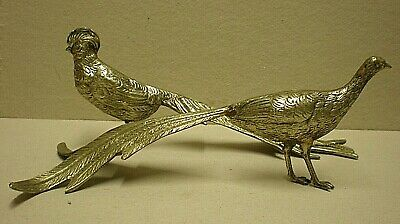 Pair Of Antique Silver Plated Peacock Table Decorations