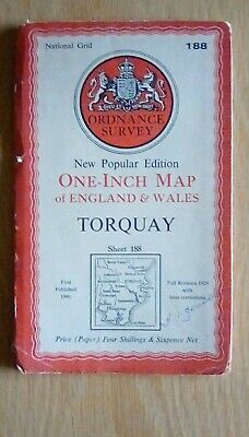 1946 OS Ordnance Survey New Popular  Edition one-inch map 188 Torquay - paper
