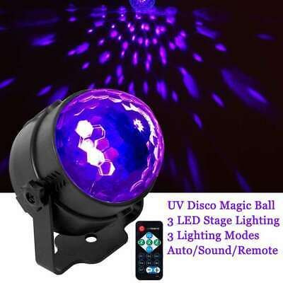 UV Strobe Lamp DJ Rotating Ball LED Stage Laser Black Lighting Disco Club Party