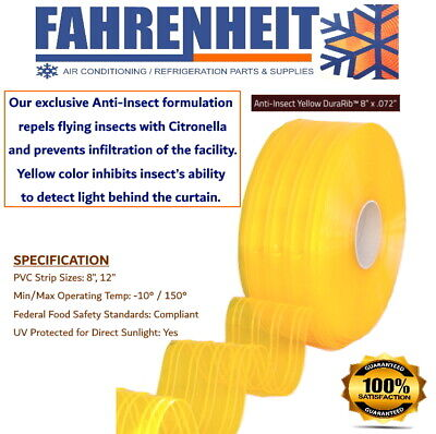 "8"" x .072"" X 150FT -  PVC Replacement Strips Anti-Insect Yellow DuraRib"