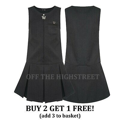 Girls School Pinafore Dress Pleated Pinafore Grey Navy Black Butterfly Zip