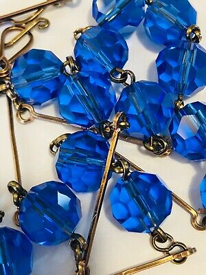 art deco Vintage Style Sapphire Faceted Glass Crystal bead Paste necklace