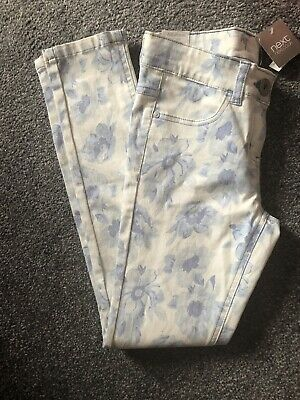 Girls BNWT NEXT Skinny Blue Floral Jeans Adjustable Waist Age 11 Years