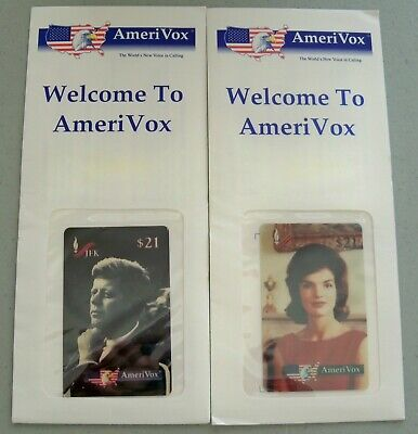 JFK John & Jacqueline Kennedy AmeriVox Limited Edition Phone Cards FREE SHIPPING