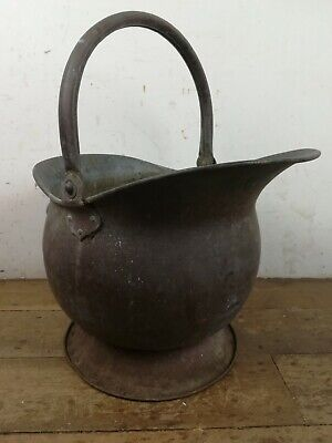 vintage brass coal firewood kindling scuttle old fireplace hearth storage