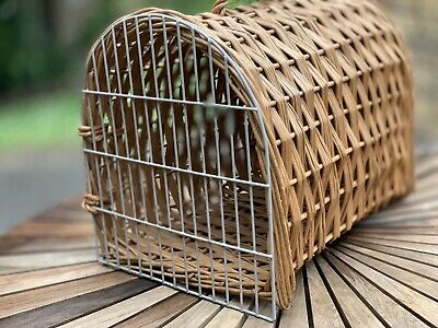 💕Vintage Wooden Wicker Small Pet Cat Carrier Basket