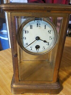 French 19th Century Brass and Glass Mantle Clock For Parts or Repair