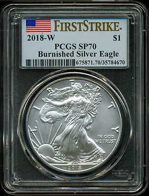 2018-W $1 Burnished Silver American Eagle SP70 PCGS 35784670 First Strike