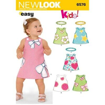 New Look Sewing Pattern 6576 Babies Toddlers Sz NB- L Easy Dresses Headbands