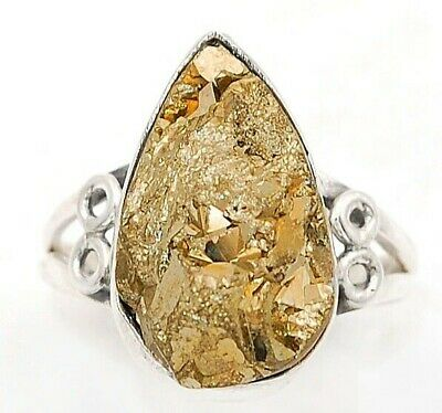 Wonderful Art Pyrite Druzy 925 Solid Sterling Silver Ring Jewelry Sz 9, C28-2