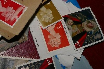 60x 1st/ First Class damaged/faintly marked UNFRANKED UK British postage stamps