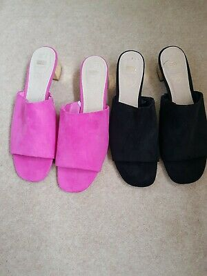Two Pairs Of Primark Amazing Sliders. Pink And Black, Size 9 Wide Fit. New