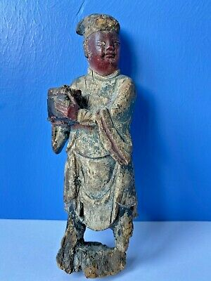 Antique18th Century Chinese Carved Wood Figure of a Merchant