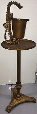Antique Cast Iron Dragon Ashtray Stand Table Scroll Art Mfg. Co. 1920's