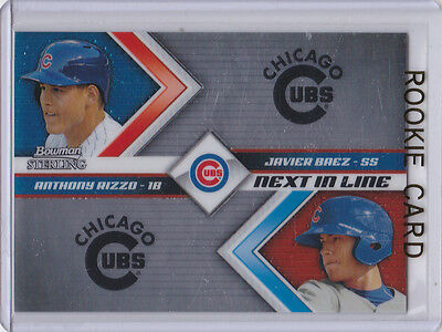 JAVIER BAEZ & ANTHONY RIZZO Bowman Sterling ROOKIE CARD Baseball CHICAGO CUBS RC