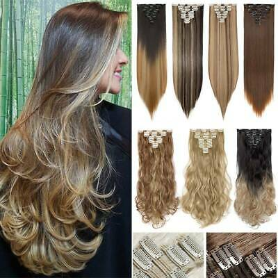 Mega THICK FULL HEAD As Human Clip in Hair Extension 100% Real NATURAL Hairpiece