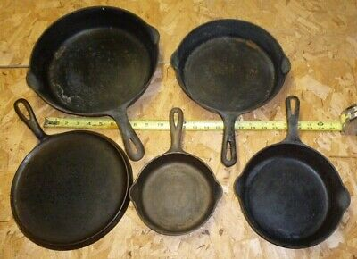 5, GRISWOLD, CAST IRON, Frying Pan, Griddle, Skillet, 608, 709A ,724, 710F, 701
