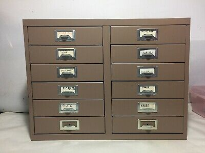 Vintage Metal 12 DRAWER Storage CABINET Small Parts Hardware Organizer