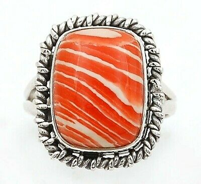 Wonderful Art Orange Opal 925 Solid Sterling Silver Ring Jewelry Sz 7.5, C28-3