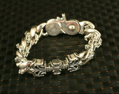 Asian rare s925 silver cruciate flower statue bracelet exquisite gift