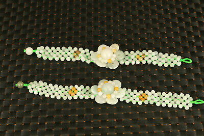 China good Natural jade flower statue pair bracelet collectable noble gift