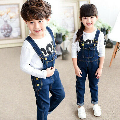 Boys Denim Solid Color Children Girls Kids Toddlers Trousers Pants Stylish 140