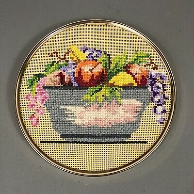 """Needle Point Fruit in Bowl Framed in Circle 12"""" Diameter Finished Complete"""