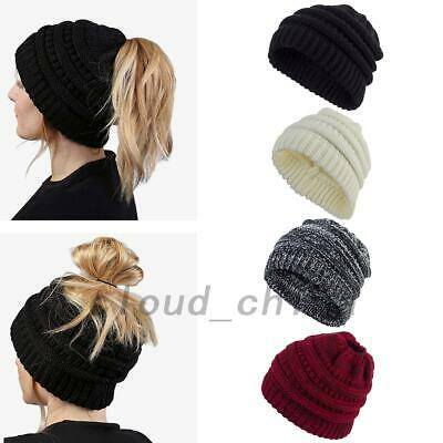 Women Ponytail Messy Bun Beanie Tail Knit Hole Soft Stretch Cable Winter Hat