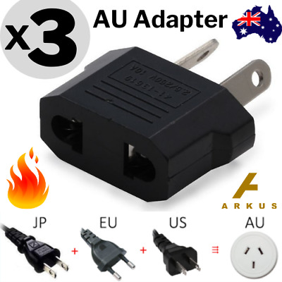3x Europe EU / Japan JP / US to Australia AU Power Plug Adapter Travel Converter