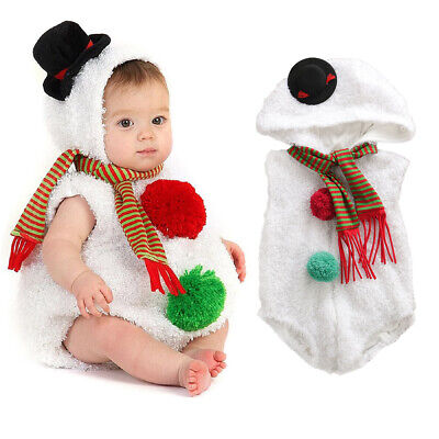 UK Christmas Newborn Infant Baby Girl Boy Snowman Cosplay Costume Romper Outfit