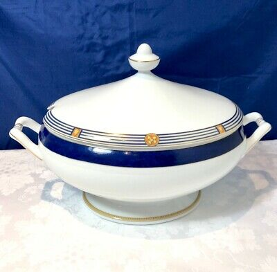 Bernardaud Limoges Porcelain Kent Bleu Soupiere / Soup Tureen / Zuppiera NEW