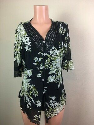 Design Works Women's X-Large Black Multi Floral Lined 2 PC. Look Beaded Blouse