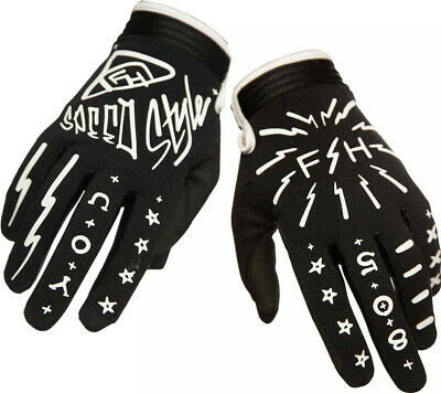 Fasthouse Speedstyle Motocross MX Offroad Race Gloves Brush Black White Adult