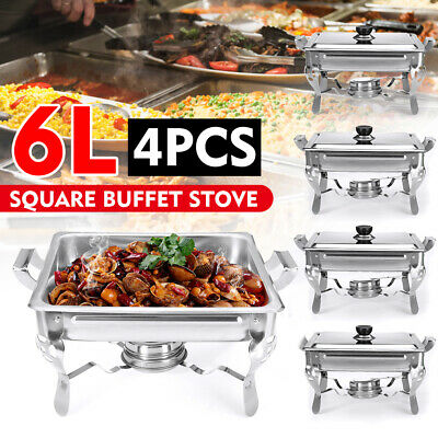 Pack Of 4 Stainless Steel Chafing Dish Set Square Buffet Stove Food Warmer Tray