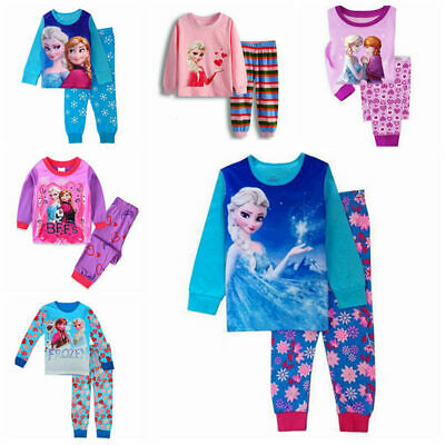 Frozen Queen Elsa Anna Girls Kids Pyjama sets Sleepwear Homewear Outfit Age 1-7Y