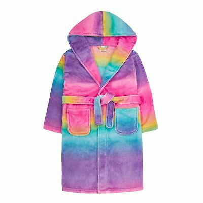 Girls Gradient Rainbow Robe Hooded Fleece Dressing Gown Kids Plush Bathrobe Gift