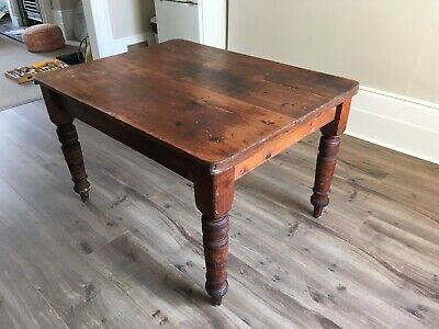 Victorian Pine Kitchen Table Antique Country Kitchen Table. With Cutlery Drawer.