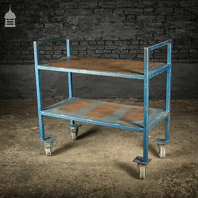 Vintage Industrial Blue Steel Wheeled Trolley Mobile Shelving Unit