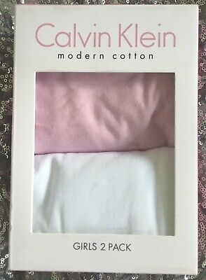 Calvin Klein two pack vests, girls age 14-16, white/pink, modern cotton, BNIB